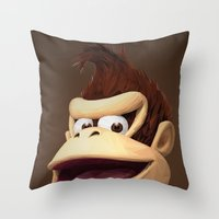 donkey kong Throw Pillows featuring Triangles Video Games Heroes - Donkey Kong by s2lart