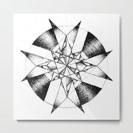 Crystalline Compass Metal Print