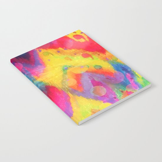 BOLD QUOTATION in NEONS 2 - Intense Rainbow Abstract Watercolor Art Painting Dream Pink Ikat Pattern Notebook
