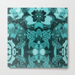 Floral Teal [attern Metal Print