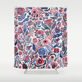Botanical in red and blue Shower Curtain