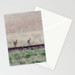 Little deers on a railway - Watercolor painting Stationery Cards