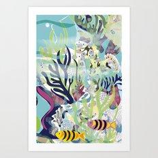 Aquatic with fish Art Print