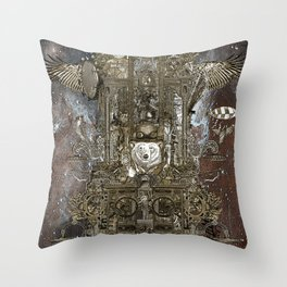 Steampunk Space Transport Throw Pillow