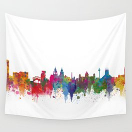 Liverpool seafront city line skyline waterfront watercolour colours colour splash by Evangelos Wall Tapestry