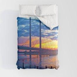 Düsseldorf Bridge @ early night Comforters