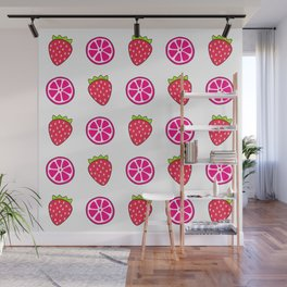 Tropical exotic grapefruit slices and sweet red strawberries summer fruity white cute pattern design. Wall Mural