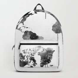Watercolor World Map Grey Backpack