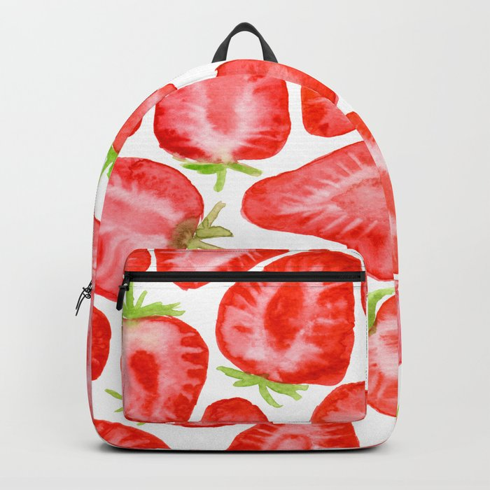 Watercolor strawberry slices pattern Backpack