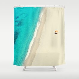 Alone at the beach Shower Curtain