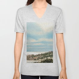 European Sunset | Colorful Costal Clouds Skyline Charming Ocean Town Baby Blue Yellow Tones Unisex V-Neck