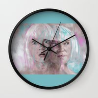 amy sia Wall Clocks featuring Sia - Maddie by firatbilal