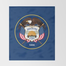 Utah State Flag - Authentic Version Throw Blanket