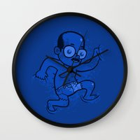 nudes Wall Clocks featuring Where is Toby? by Anna-Maria Jung