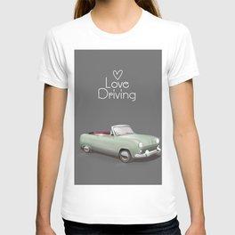 Love driving vintage car poster. T-shirt