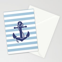 Sailor Stripes and Anchor Pattern Blue 21 Stationery Cards