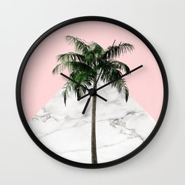 Palm Tree on Pink and Marble Wall Wall Clock