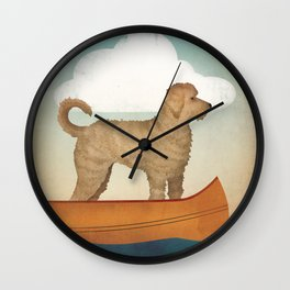 Doodle Goldendoodle Labradoodle Canoe Fowler Wall Clock