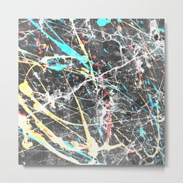 Abstract teal yellow paint splatters gray marble Metal Print