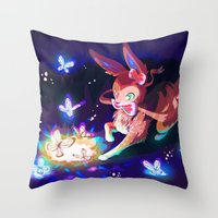 sylveon Throw Pillows featuring Sylveon by Katie O'Meara