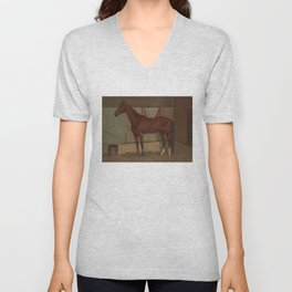 Vintage Race Horse Illustration (1882) Unisex V-Neck