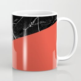 Black Marble with Cherry Tomato Color Coffee Mug