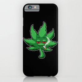 Cannabis Leaf With Red Eyes Smokes Weed - THC CBD iPhone Case