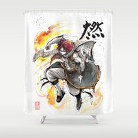 fairy tail Shower Curtains featuring Natsu from Fairy Tail sumi/watercolor by mycks