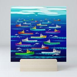 Fishermen And Dolphins Mini Art Print