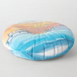 Miami Florida Watercolor Skyline and Causeway Floor Pillow