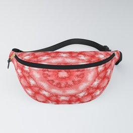 Kaleidoscope Fuzzy Red and White Circular Pattern Fanny Pack