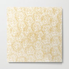 Busy Flowers Monochromatic Floral Woodcut Pattern in Mustard Yellow and White Metal Print