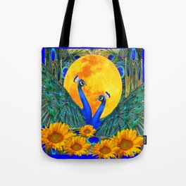 BLUE PEACOCKS MOON & FLOWERS FANTASY ART Tote Bag