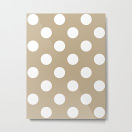 Large Polka Dots - White on Khaki Brown Metal Print