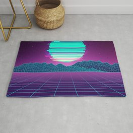 The Future World Synthwave  Rug