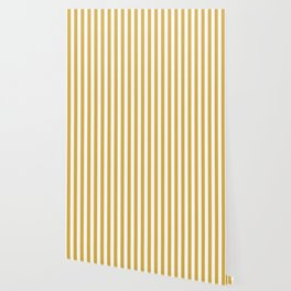 Large Mustard Yellow and White Cabana Tent Stripe Wallpaper