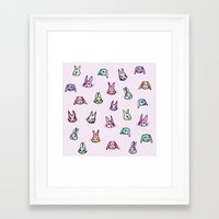 rabbits Framed Art Prints featuring Rabbits by Darish