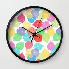 Watercolor Heart Leaves Wall Clock