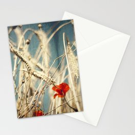 chAos one - red poppies in wheat field Stationery Cards