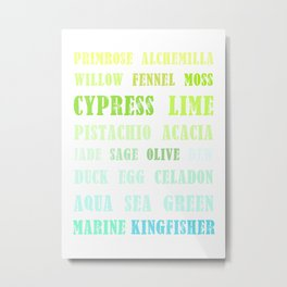 Paint Palette Typography - Blue & Green Metal Print