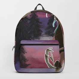Hunting beauty, Watercolor hand drawn scene,Beautiful woman on Vintage wildlife colorful landscape Backpack
