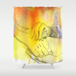 Watercolor Hands Shower Curtain