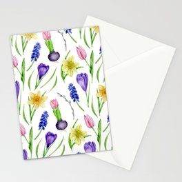 Watercolor spring flowers Stationery Cards