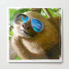 Sloth with Sunglasses, Chillin' Metal Print