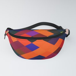 geometric square pixel pattern abstract in orange brown blue yellow Fanny Pack