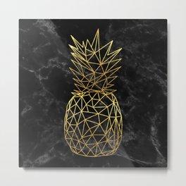 Modern geometric gold pineapples design Metal Print