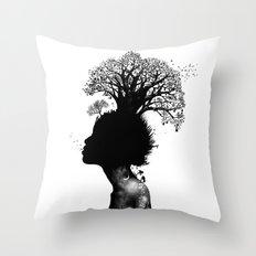 Natural Black Woman Throw Pillow