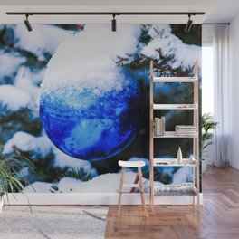 Blue Christmas Ornament Wall Mural