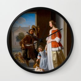 "Jacob Ochtervelt ""A Fishmonger at the Door"" Wall Clock"