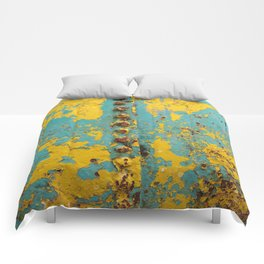 yellow and blue worn paint and rust texture Comforters
